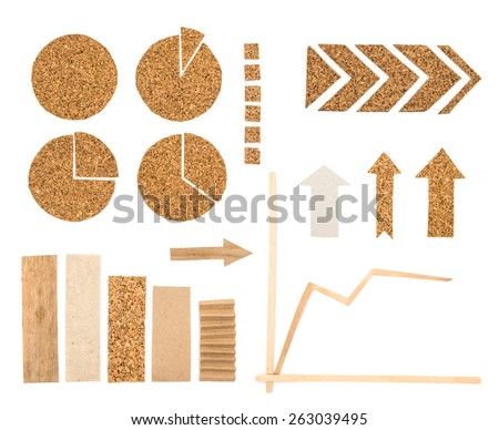 Graphic elements for infographics about ecology. Charts, columns, arrows and graphic set with wood, cork, carton isolated on a white background. - stock photo