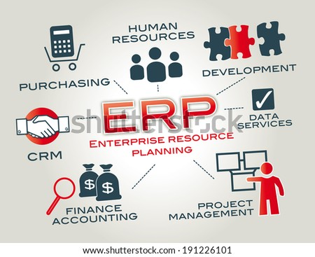 "graphic ""enterprise resource planning"". Keywords with icons - stock photo"