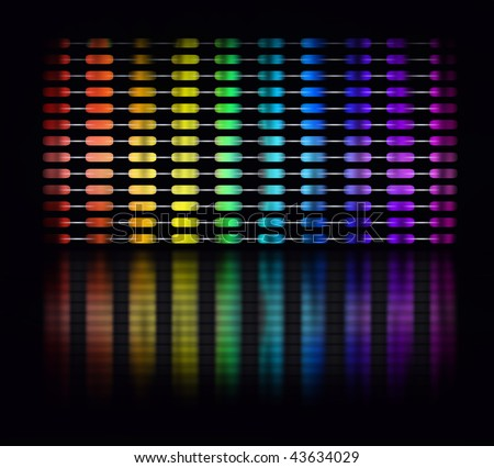Graphic equalizer display showing moving color light bars on black background