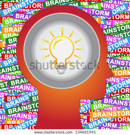 Graphic For Business Solution or Business Idea Concept Present By Red Head With Idea or Light bulb Sign Inside With Group of Colorful Brain Storm Label Background - stock photo