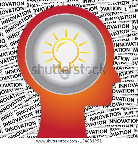 Graphic For Business Solution or Business Idea Concept Present By Red Head With Idea or Light bulb Sign Inside With Group of Innovation Label Background - stock photo
