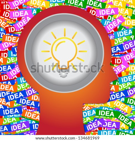Graphic For Business Solution or Business Idea Concept Present By Red Head With Idea or Light bulb Sign Inside With Group of Colorful Idea Label Background - stock photo
