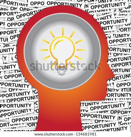 Graphic For Business Solution or Business Idea Concept Present By Red Head With Idea or Light bulb Sign Inside With Group of Opportunity Label Background - stock photo