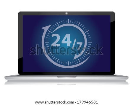 Graphic for E-Commerce Concept, Computer Laptop With Open 24/7 Sign on Blue Screen Isolated on White Background  - stock photo