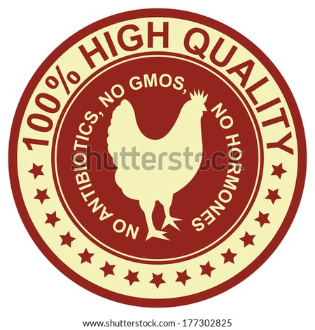 Graphic for Food Business Present By Red Vintage Style 100 Percent High Quality No Antibiotics, No Gmos, No Hormones Stamp, Label, Sticker or Icon Isolated on White Background