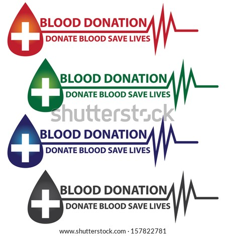 Graphic For Healthcare and Medical Concept Present By Colorful Blood Donation Donate Blood Save Life Text With Blood Drop, Cross and Heartbeat Graph Isolated On White Background  - stock photo