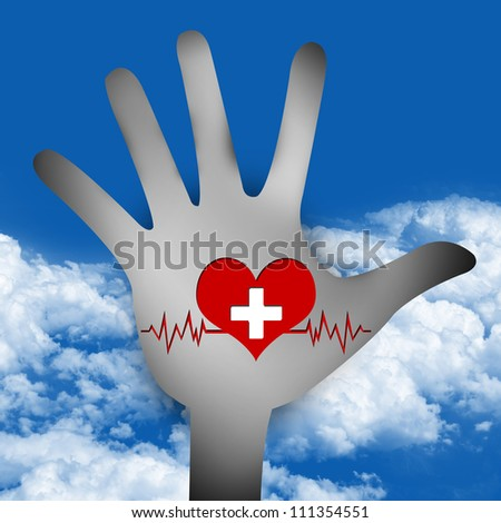 Graphic for Heart Donation Concept, Hand With Red Heart and White Cross Over The Heart Pulse Graph Inside in Blue Sky Background - stock photo
