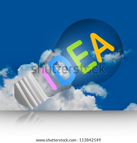Graphic For Idea Concept, Light Bulb With Idea Text in Blue Sky Background - stock photo