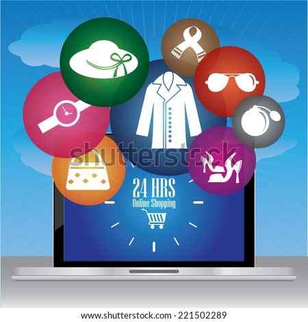 Graphic For Internet and Online Business Present By Computer Laptop With 24 HRS Online Shopping Sign on Screen and Group of Colorful Fashion Icon in Blue Sky Background  - stock photo