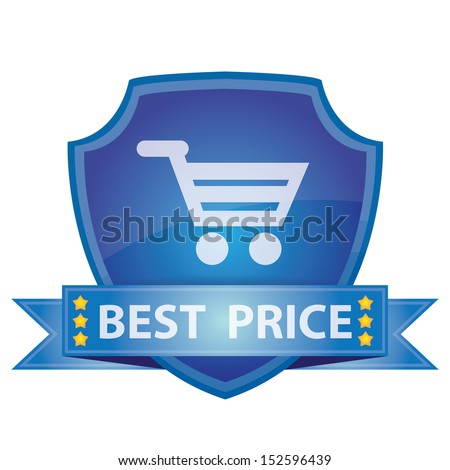 Graphic For Marketing Campaign, Present By Blue Glossy Style Shield Icon With Best Price Label and Shopping Cart Sign Isolated on White Background  - stock photo