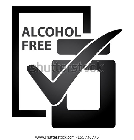 Graphic for Marketing Campaign, Product Information or Product Ingredient Concept Present By Black Glossy Style Alcohol Free Perfume Bottle Sign With Check Mark Isolated on White Background  - stock photo