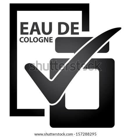 Graphic for Marketing Campaign, Product Information or Product Ingredient Concept Present By Black Glossy Style Eau De Cologne Bottle Sign With Check Mark Isolated on White Background  - stock photo