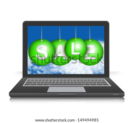 Graphic For Promotion and Sale Season Campaign Present By Black Computer Notebook Screen With Hanged Green Sale Tag Isolated on White Background  - stock photo