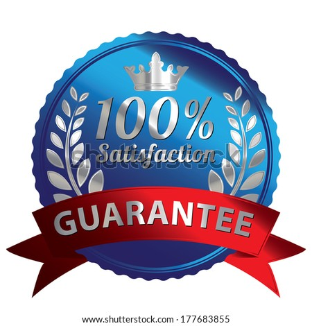 Graphic For Promotional Sale or Marketing Campaign Present By Blue Metallic Style 100 Percent Satisfaction Guarantee Icon, Badge, Label or Sticker Isolated on White Background  - stock photo