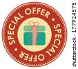 Graphic For Promotional Sale or Marketing Campaign Present By Circle Red Vintage Style Special Offer Icon, Badge, Label or Sticker With Gift Box or Present Sign Isolated on White Background  - stock photo