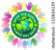 Graphic for Save The Earth Campaign Present By Colorful Hand Around Save The Earth Sticker With Globe Inside Isolated on White Background - stock photo
