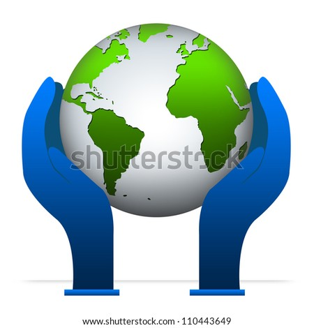 Graphic For Save The Earth Campaign, Present by Hand and Globe Isolated on White Background - stock photo