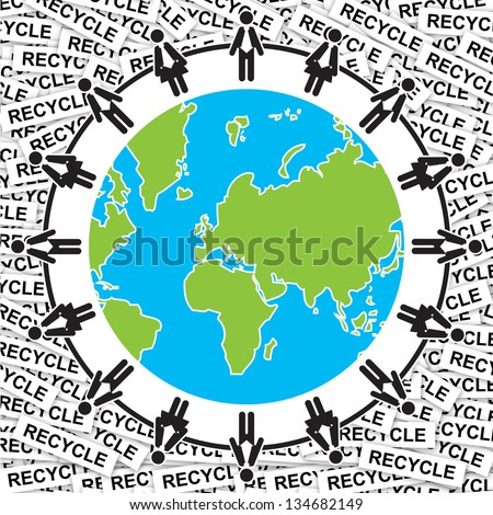 Graphic For Save The Earth or Stop Global Warming Concept Present By Human Around The Blue Earth With Group of Recycle Label Background - stock photo