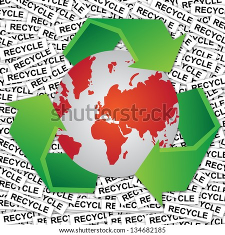 Graphic For Save The Earth or Stop Global Warming Concept Present By Red World and Green Recycle Sign Around in Recycle Label Background - stock photo