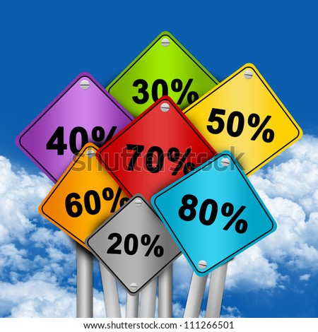 Graphic For Special Promotion, Colorful Traffic Sign With Many Percentage Discount in Blue Sky Background - stock photo