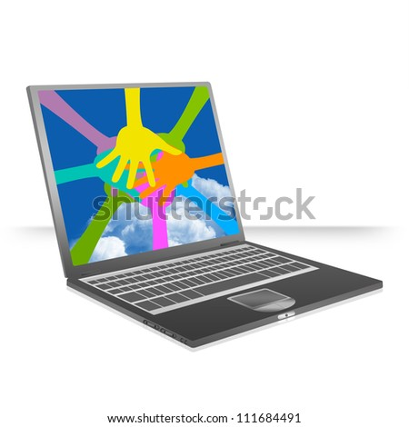 Graphic For Togetherness Concept Present By Black Computer Laptop With A Lot of Colorful Hands Together on Screen Isolated on White Background