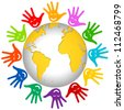 Graphic For Volunteer and Voting Concept Present By The Colorful Hands With Smile Around The Earth Isolated on White Background - stock photo