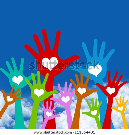 Graphic For Volunteer and Voting Concept, The Colorful Raised Hands With Heart in Blue Sky Background - stock photo
