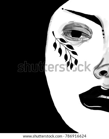 Graphic Girl Face With Tattoo Tumblr Style Digital Art