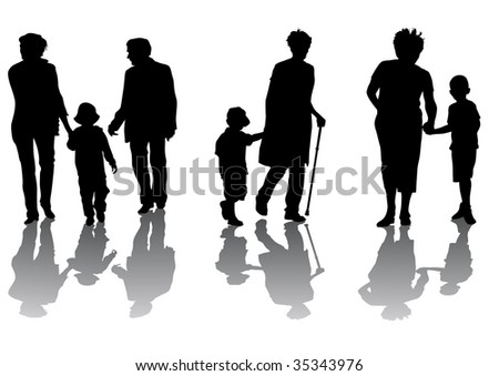 graphic grandmother and grandson. Silhouettes on a white background