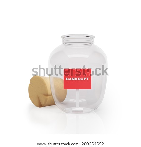 Graphic illustration icon glass jar with a sign bankrupt white background - stock photo