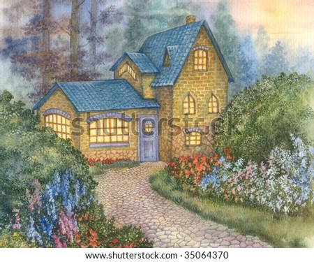 graphic illustration of a house - stock photo