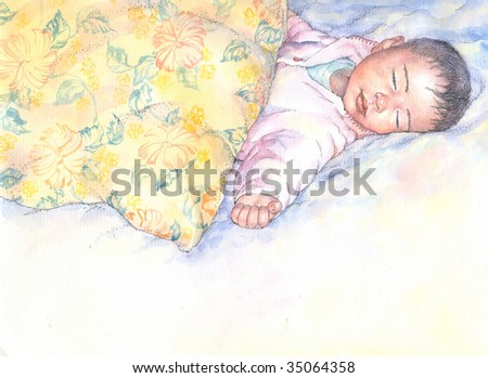 graphic illustration of a sleeping baby - stock photo