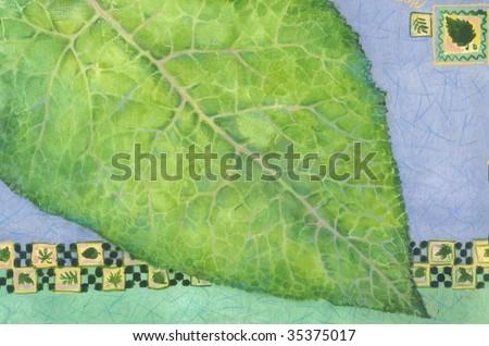 graphic illustration of leaf - stock photo
