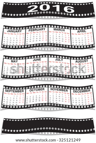 graphic illustration of the Film strip calendar 2016 - stock photo