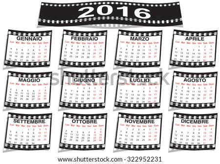 graphic illustration of the Italian film strip calendar 2016 - stock photo
