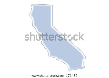 Graphic Illustration of the shape of California. - stock photo