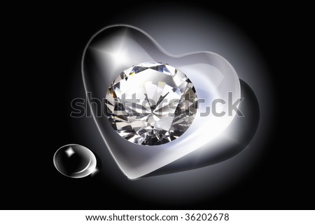 GRAPHIC IMAGE-a big diamond in the heart crystal - stock photo