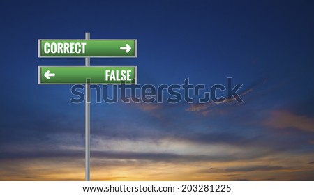 Graphic of a False and Correct Road Signs on Sunset Background - stock photo