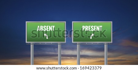 Graphic of a green absent and present sign on sunset background - stock photo