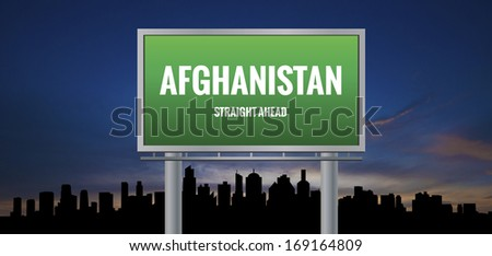 Graphic of a green Afghanistan Straight Ahead sign on silhouette skyline and sunset background  - stock photo
