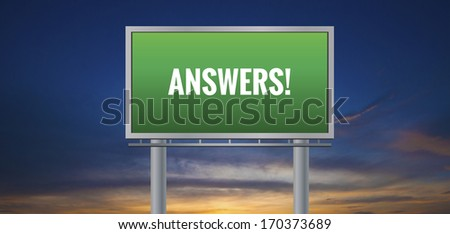Graphic of a green Answers! sign on sunset background - stock photo