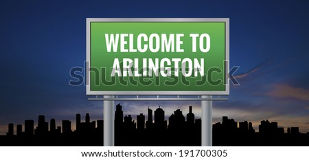 Graphic of a green Arlington, Texas of United States largest cities sign on silhouette skyline and sunset background - stock photo