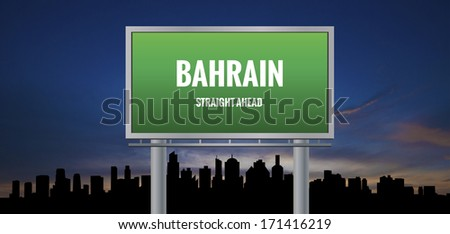 Graphic of a green Bahrain Straight Ahead sign on silhouette skyline and sunset background  - stock photo