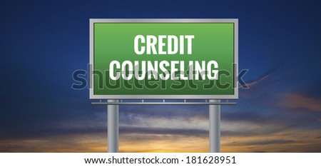 Graphic of a green Credit Counseling sign on sunset background - stock photo