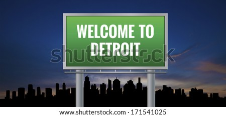 Graphic of a green Detroit, Michigan of United States largest cities sign on silhouette skyline and sunset background - stock photo