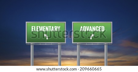 Graphic of a green elementary and advanced sign on sunset background - stock photo