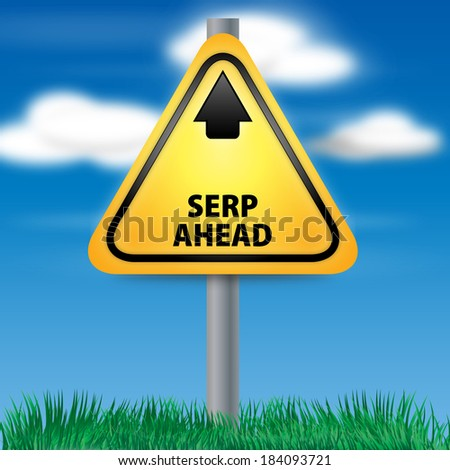 Graphic of a yellow SERP Ahead Road Sign on Cloud Background - stock photo