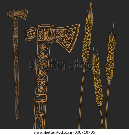 graphic outline ax with ornaments and the yellow stalks of wheat on a brown background - stock photo