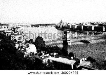 Graphic pencil sketch of river and bridge in Budapest by digital painting  - stock photo