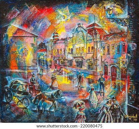 graphic picture of the oil city at night with people and coach - stock photo